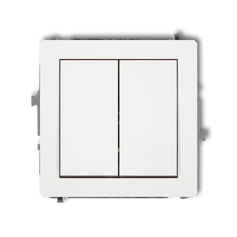 Wylaczniki-podwojne - biały podwójny włącznik świecznikowy dwp-44.1 deco karlik firmy Karlik