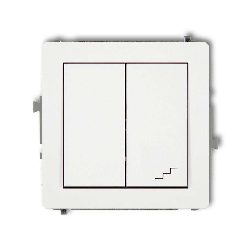 Wylaczniki-schodowe - biały włącznik jednobiegunowy+schodowy (osobne zasilanie) dwp-10.2 deco karlik firmy Karlik