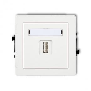 Białe pojedyncze gniazdo USB-AA DGUSB-1 DECO KARLIK