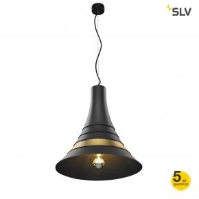 Lampy-sufitowe - lampa wisząca nad stół czarna z mosiężnym pierścieniem bato 45 spotline