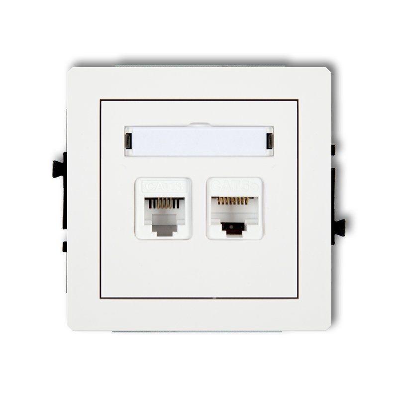 Gniazda-komputerowo-telefoniczne - białe gniazdo telefoniczne rj11+komputerowe rj45 kat. 5e dgtk deco karlik firmy Karlik