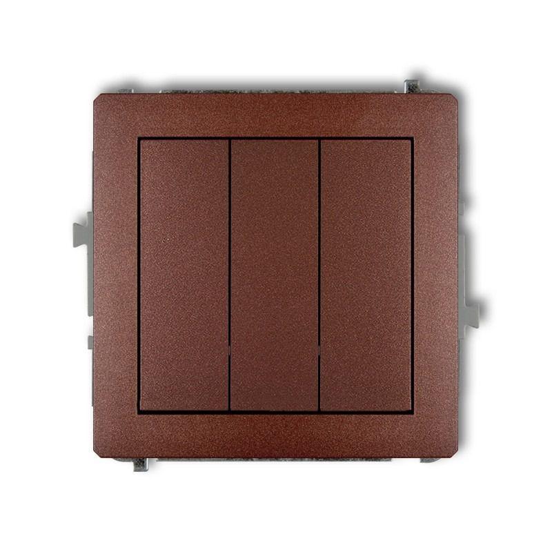Wylaczniki-potrojne - potrójny włącznik brązowy metaliczny 9dwp-7 deco karlik firmy Karlik
