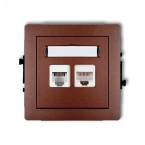 Brązowe metaliczne gniazdo telefoniczne RJ11+komputerowe RJ45 9DGTK DECO KARLIK