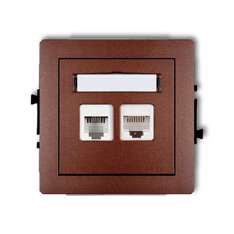 Gniazda-komputerowo-telefoniczne - brązowe metaliczne gniazdo telefoniczne rj11+komputerowe rj45 9dgtk deco karlik firmy Karlik