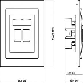 Gniazda-komputerowo-telefoniczne - brązowe metaliczne gniazdo telefoniczne rj11+komputerowe rj45 9dgtk deco karlik
