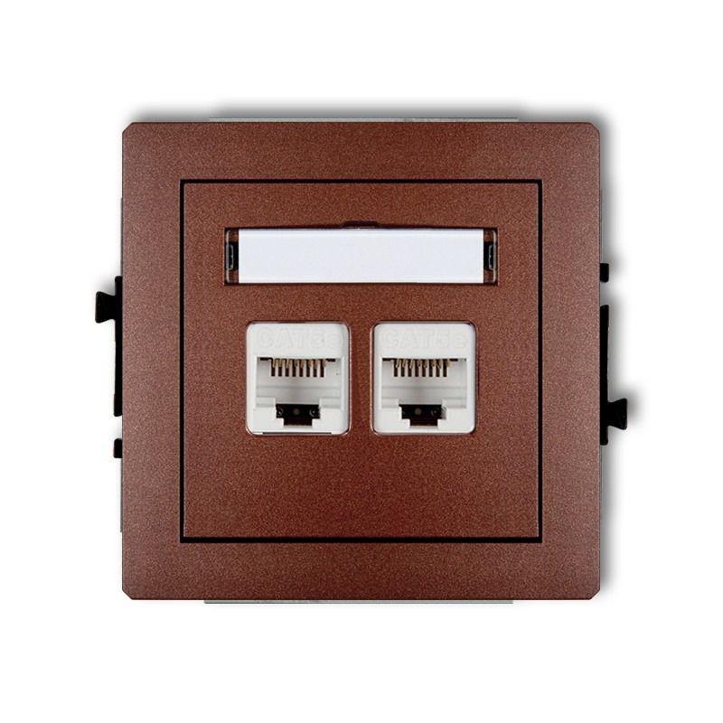Gniazda-komputerowe - podwójne gniazdo komputerowe brązowe rj45 5e 9dgk-2 deco karlik firmy Karlik