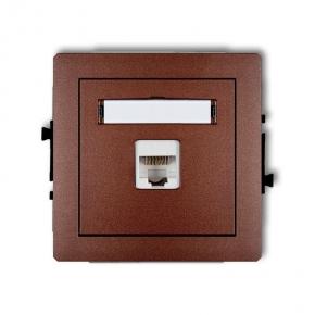 Gniazda-komputerowe - brązowe gniazdo komputerowe rj45 kat. 5e 9dgk-1 deco karlik