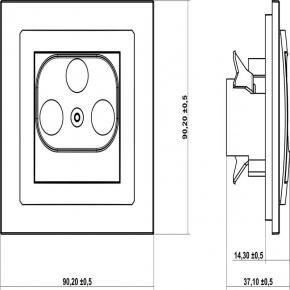 Gniazda-antenowe - brązowe metaliczne gniazdo rtv końcowe w szeregu gniazd przelotowych 6db 9dg6k deco karlik