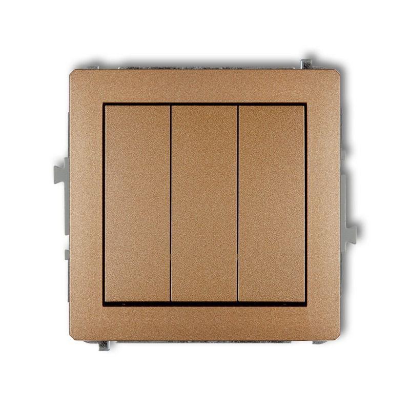 Wylaczniki-potrojne - złoty metaliczny mechanizm włącznika potrójnego 8dwp-7 deco karlik firmy Karlik