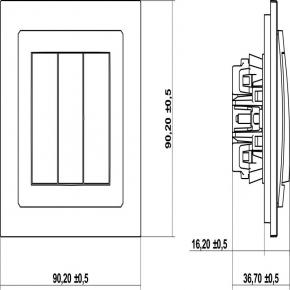 Wylaczniki-potrojne - złoty metaliczny mechanizm włącznika potrójnego 8dwp-7 deco karlik