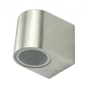Kinkiety-ogrodowe - kinkiet ogrodowy aluminiowy polux boston gla37ow1sb 1xgu10 owalny w dół satynowy szczotkowany