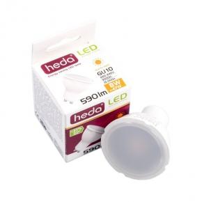 Gwint-trzonek-gu10 - żarówka halogenowa led z gwintem gu10 hd243l heda led gu10 8w-47w 590lm 120st. 3000k ciepły, energy a+