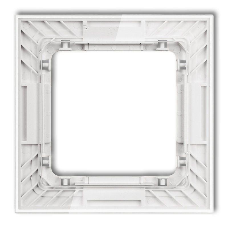 Ramki-pojedyncze - pojedyncza ramka transparentna/biała z efektem szkła 52-0-drs-1 deco karlik firmy Karlik