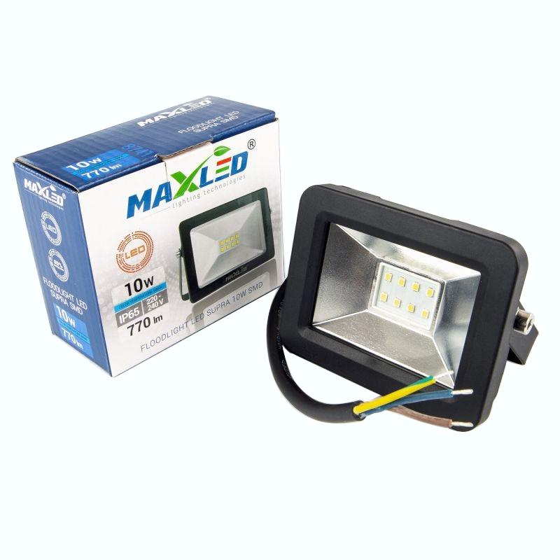 Naswietlacze-led-10w - naświetlacz led 10w czarny z zimnym światłem 6000k 770lm ip65 maxled supra 8741 firmy MAXLED