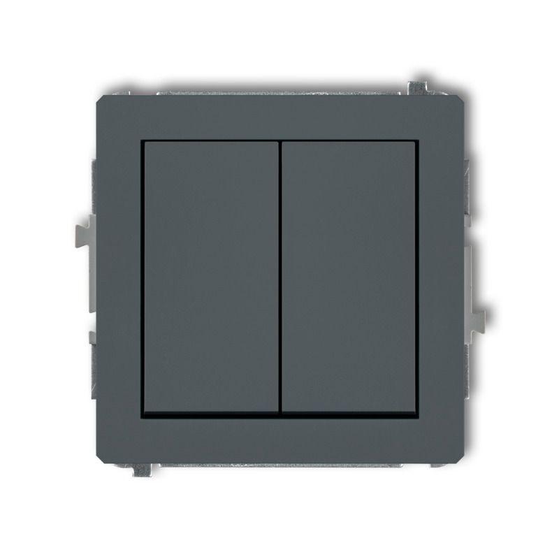 Wylaczniki-podwojne - podwójny włącznik grafitowy mat 28dwp-2 deco karlik firmy Karlik