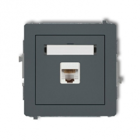 Gniazda-komputerowe - grafitowe matowe gniazdo komputerowe rj45 kat. 5e ekranowane 28dgk-1e deco karlik