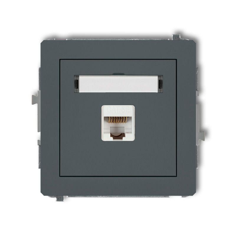 Gniazda-komputerowe - grafitowe matowe gniazdo komputerowe rj45 kat. 5e ekranowane 28dgk-1e deco karlik firmy Karlik