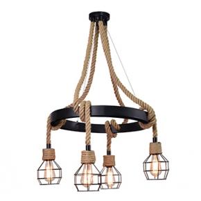Lampy-sufitowe - wisząca lampa sufitowa czarny/jasny brąz e27 4x10w led il mio alegra 312495 polux