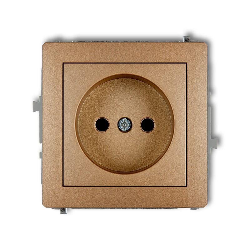 Gniazda-pojedyncze-podtynkowe - pojedyncze gniazdo bez uziemienia złoty metalik 8dgp-1 deco karlik firmy Karlik