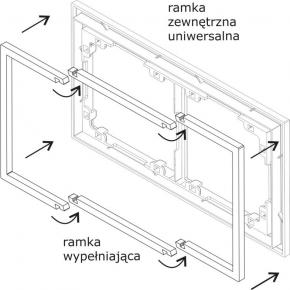 Ramki-poczworne - wypełniająca srebrna metaliczna ramka poczwórna 7drw-4 deco karlik