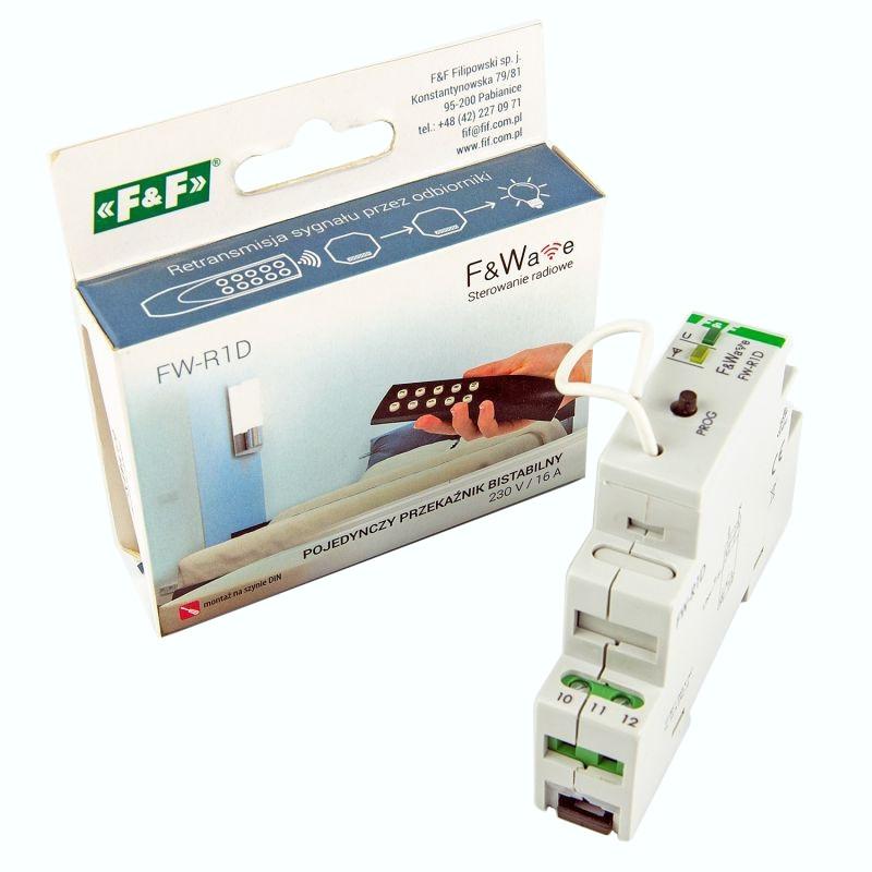Sterowniki-i-odbiorniki - radiowy przekaźnik bistabilny fw-r1d 16a ac/dc szyna th f&f firmy F&F