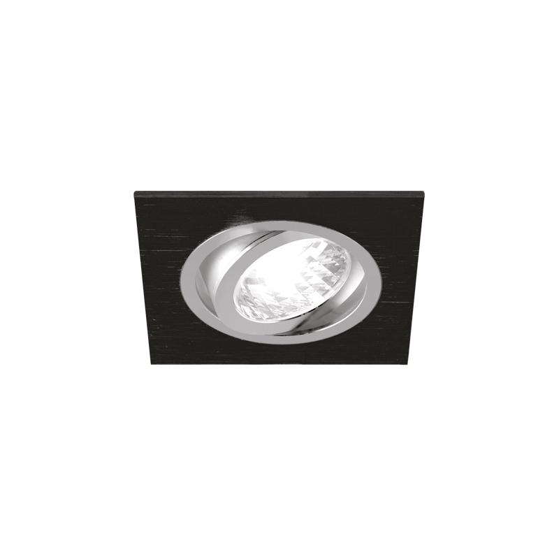 Oprawy-sufitowe - kwadratowa oprawa sufitowa punktowa 50w czarny mat/chrom gu10 alum d 03590 ideus firmy IDEUS