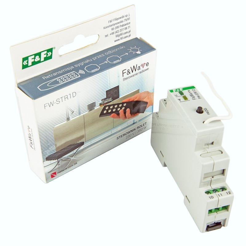 Sterowniki-i-odbiorniki - radiowy sterownik rolet fw-str1d  230v 1,5a szyna th f&f firmy F&F