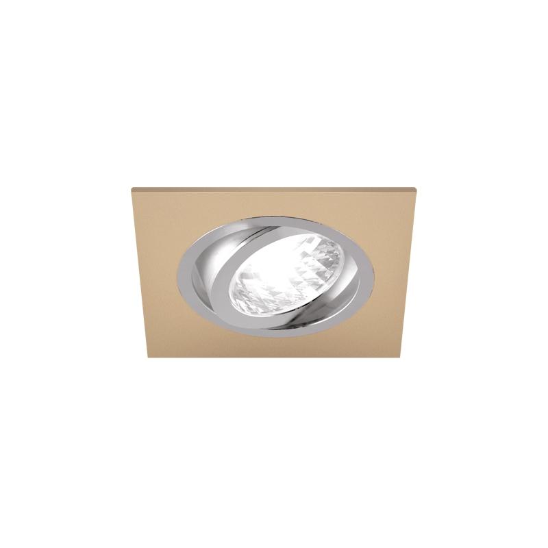 Oprawy-sufitowe - sufitowa oprawa punktowa kwadratowa beżowy/chrom 50w gu10 alum d 03625 ideus firmy IDEUS