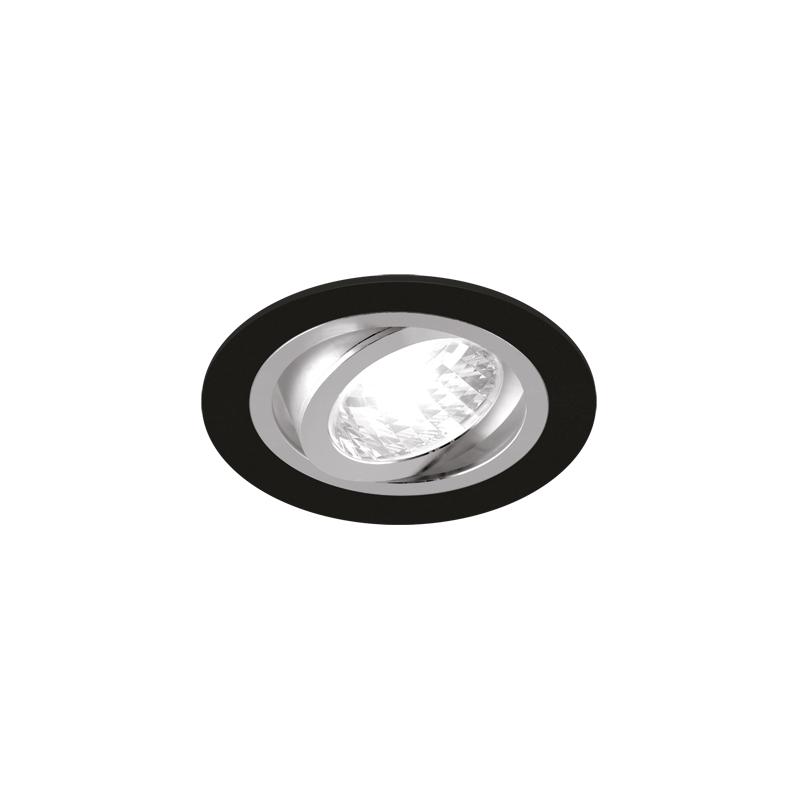 Oprawy-sufitowe - punktowa oprawa sufitowa okrągła czarny mat/chrom 50w gu10 alum c 03624 ideus firmy IDEUS