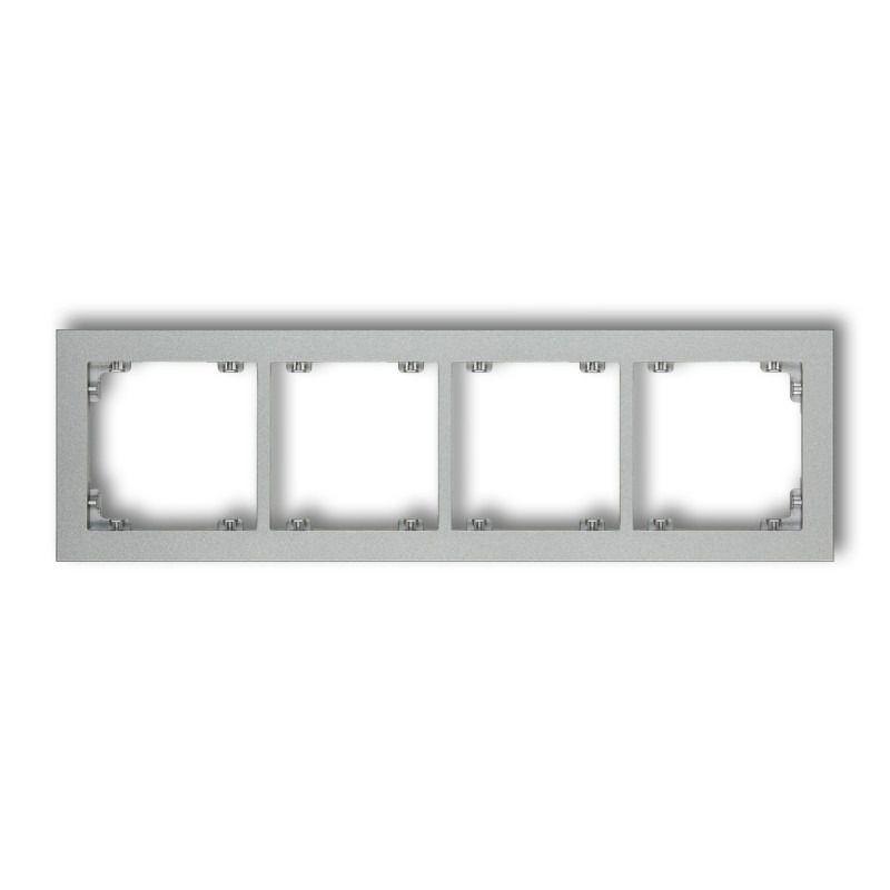 Ramki-poczworne - srebrna metaliczna ramka poczwórna 7dr-4 deco karlik firmy Karlik