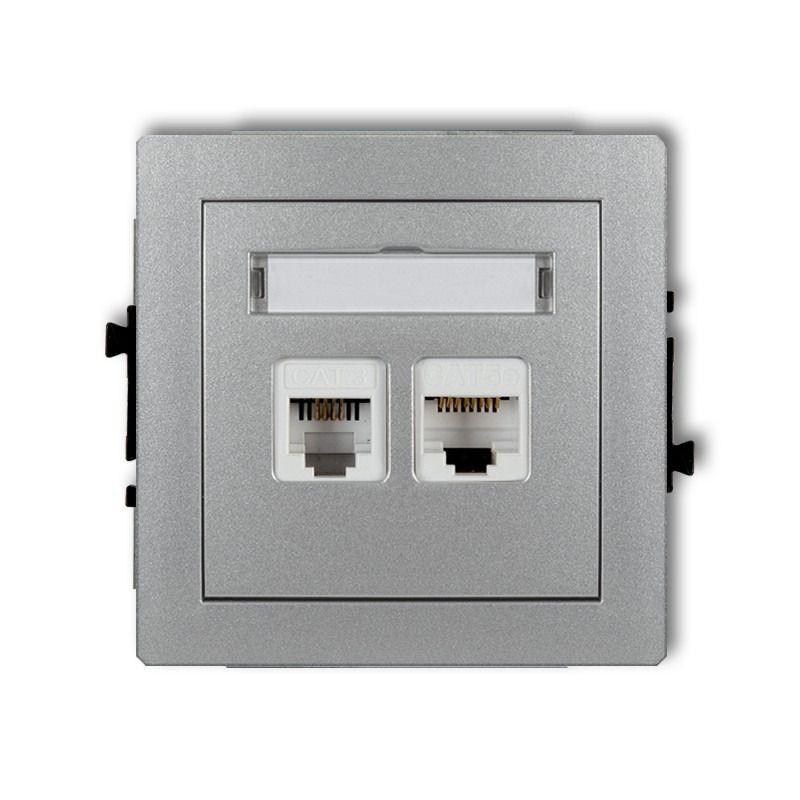 Gniazda-komputerowo-telefoniczne - gniazdo telefoniczne rj11+komputerowe rj45 srebrne 5e 7dgtk deco karlik firmy Karlik