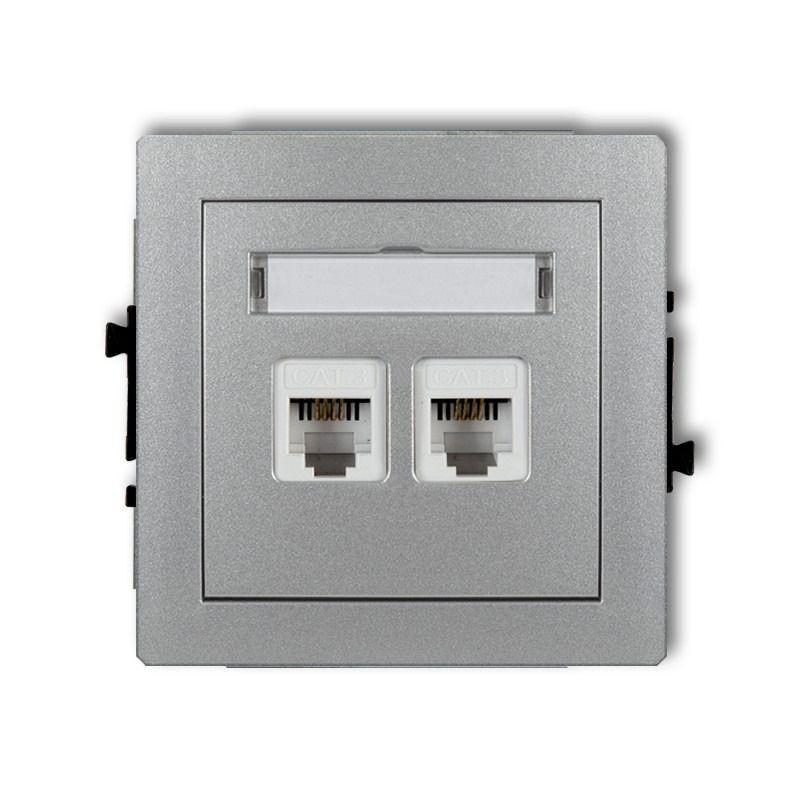 Gniazda-telefoniczne - srebrne podwójne gniazdo telefoniczne rj11 7dgt-2 deco karlik firmy Karlik