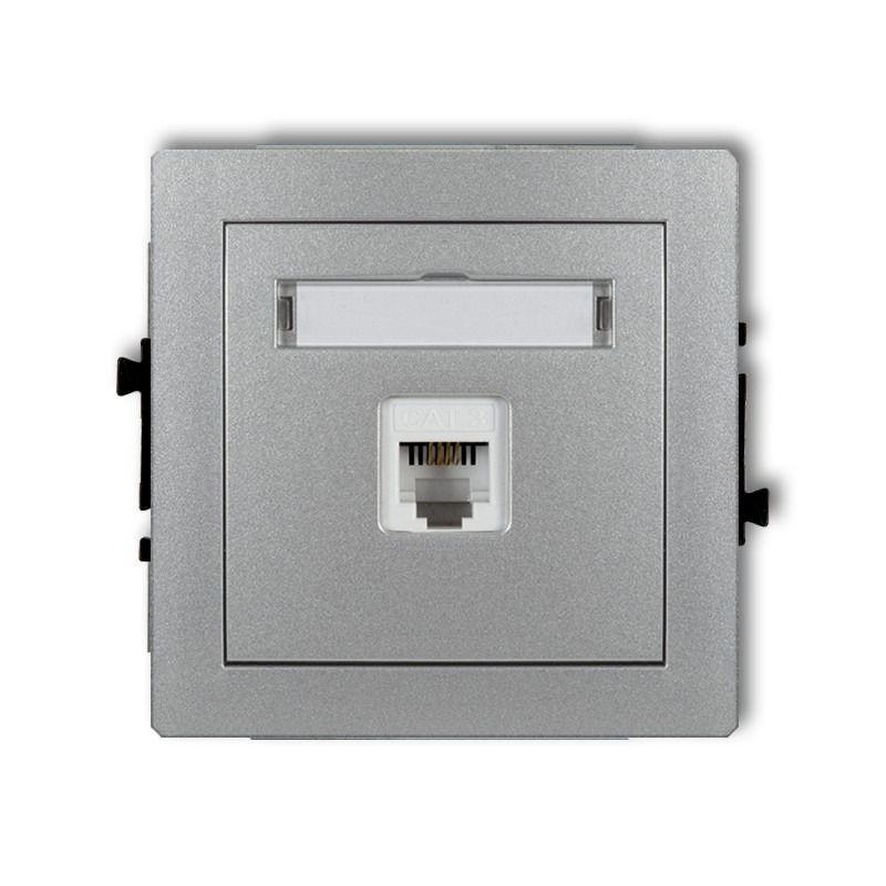 Gniazda-telefoniczne - srebrny mechanizm gniazda telefonicznego rj11 7dgt-1 deco karlik firmy Karlik