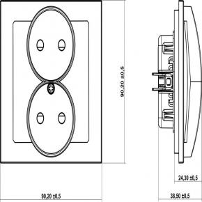 Gniazda-podwojne-podtynkowe - gniazdo podwójne srebrne bez uziemienia 7dgpr-2 deco karlik