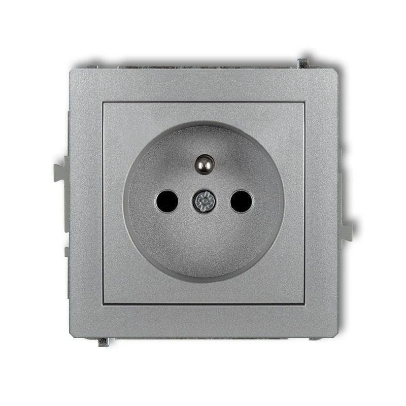 Gniazda-wlaczniki-i-akcesoria - pojedyncze srebrne gniazdo z uziemieniem 7dgp-1z deco karlik firmy Karlik