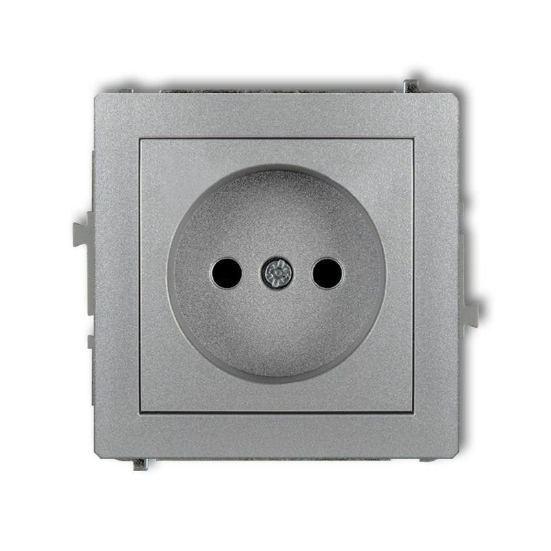 Gniazda-pojedyncze-podtynkowe - mechanizm gniazda pojedynczego srebrnego bez uziemienia 7dgp-1 deco karlik firmy Karlik