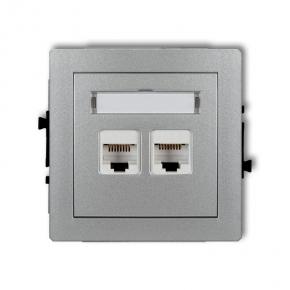Gniazda-komputerowe - podwójne gniazdo komputerowe rj45 srebrny metalik 5e 7dgk-2 deco karlik