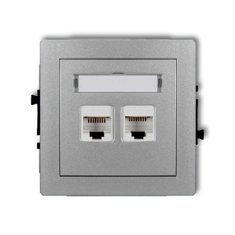 Gniazda-komputerowe - podwójne gniazdo komputerowe rj45 srebrny metalik 5e 7dgk-2 deco karlik firmy Karlik