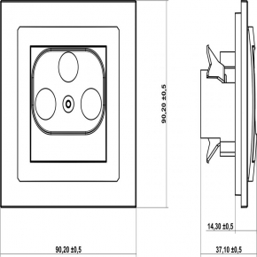 Gniazda-antenowe - srebrny mechanizm gniazda rtv końcowego 2db 7dg2k deco karlik