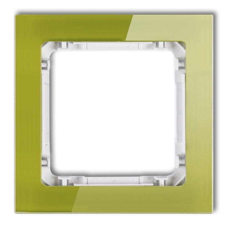Ramki-pojedyncze - pojedyncza ramka zielona/biała efekt szkła 2-0-drs-1 deco karlik firmy Karlik