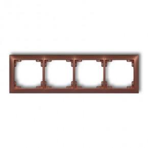 Ramki-poczworne - ramka instalacyjna poczwórna brązowy metalik 9drso-4 deco soft karlik