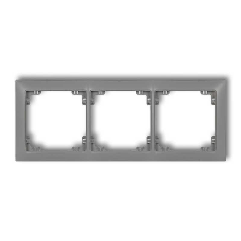 Ramki-potrojne - ramka potrójna uniwersalna szary mat 27drso-3 deco soft karlik firmy Karlik
