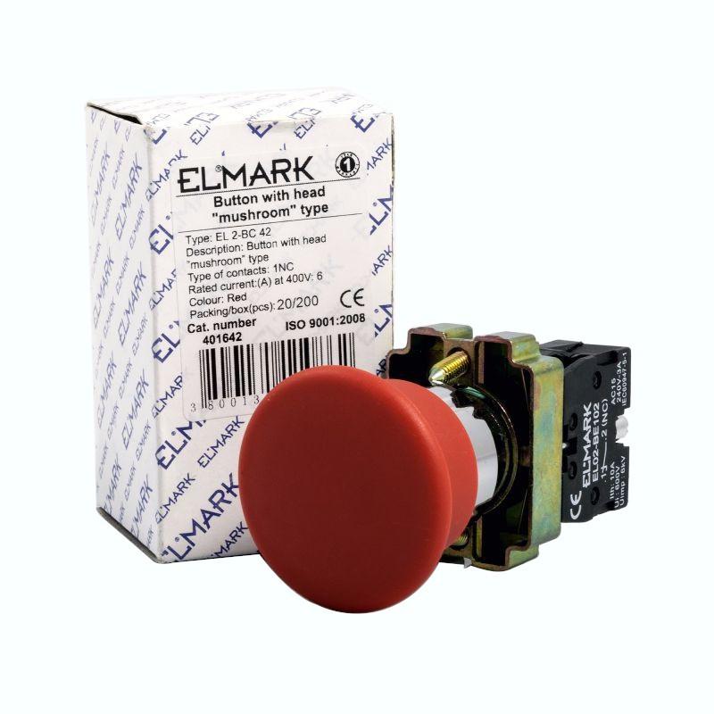 Wylaczniki-awaryjne - przycisk awaryjny dłoniowy grzybek  czerwony nc elmark el 2-bc 42 firmy ELMARK
