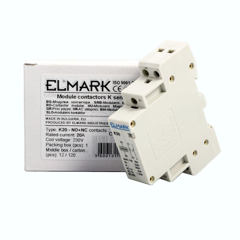 Styczniki - stycznik  elmark k20 20a 230v no+ nc 23007 firmy ELMARK