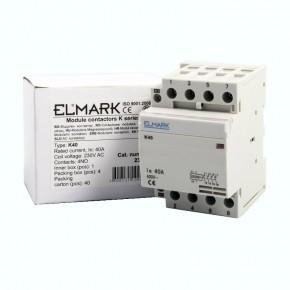 Styczniki - stycznik 40a 230 v kontaktor modułowy k40 elmark 23409