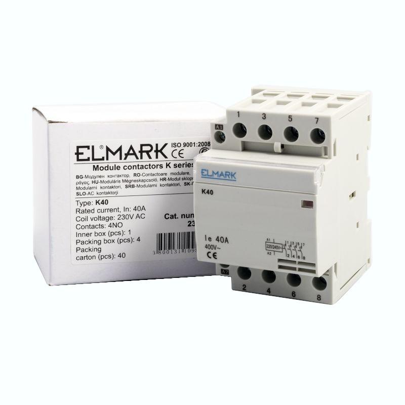 Styczniki - stycznik 40a 230 v kontaktor modułowy k40 elmark 23409 firmy ELMARK