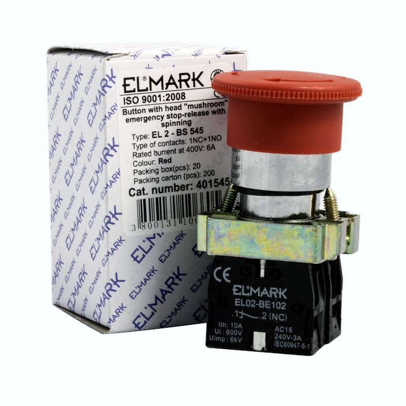 Wylaczniki-awaryjne - przycisk  dłoniowy awaryjny z blokadą grzybek  el 2-bs 545 no+nc firmy ELMARK