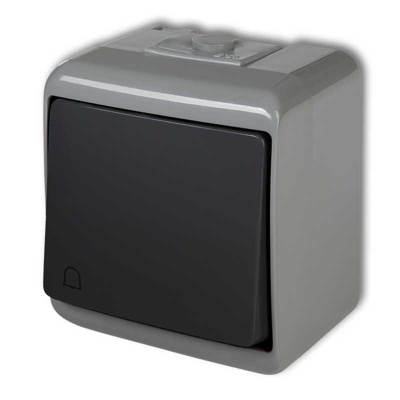 Wlaczniki-i-przyciski-dzwonkowe - przycisk dzwonkowy hermetyczny zwierny natynkowy popielaty/grafitowy 30whe-4 junior karlik firmy Karlik