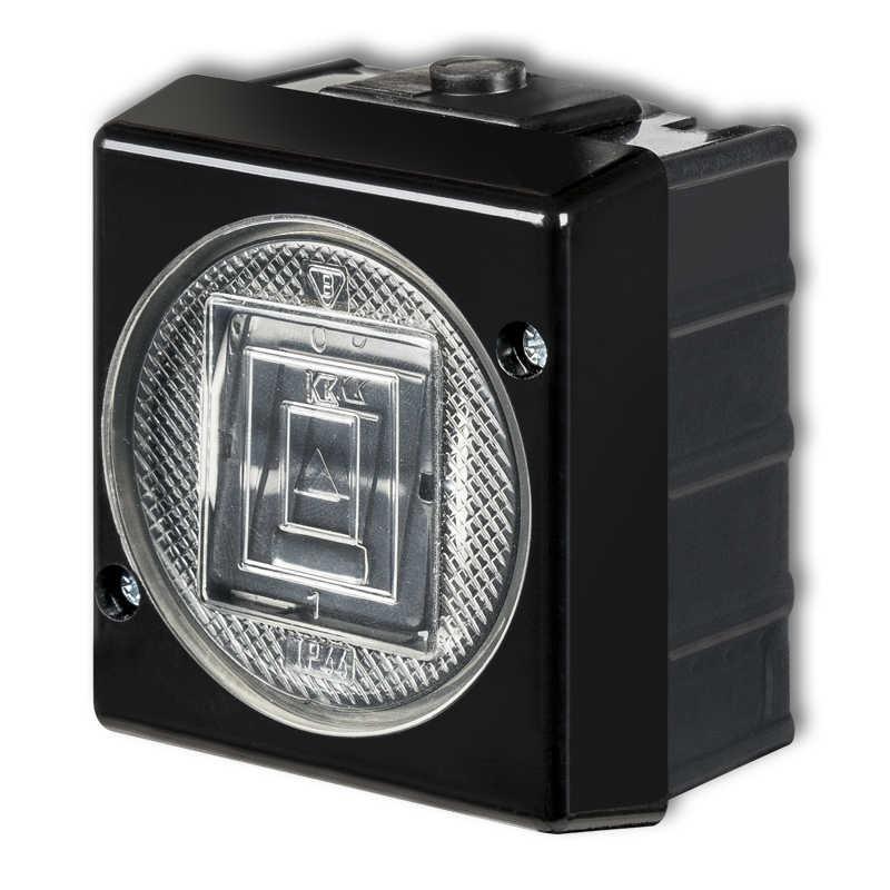 Wlaczniki-i-przyciski-dzwonkowe - przycisk dzwonkowy zwierny natynkowy w kolorze czarnym 12whs-4 senior karlik firmy Karlik