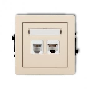 Gniazda-telefoniczne - beżowe gniazdo telefoniczne rj11+komputerowe rj45 1dgtk deco karlik